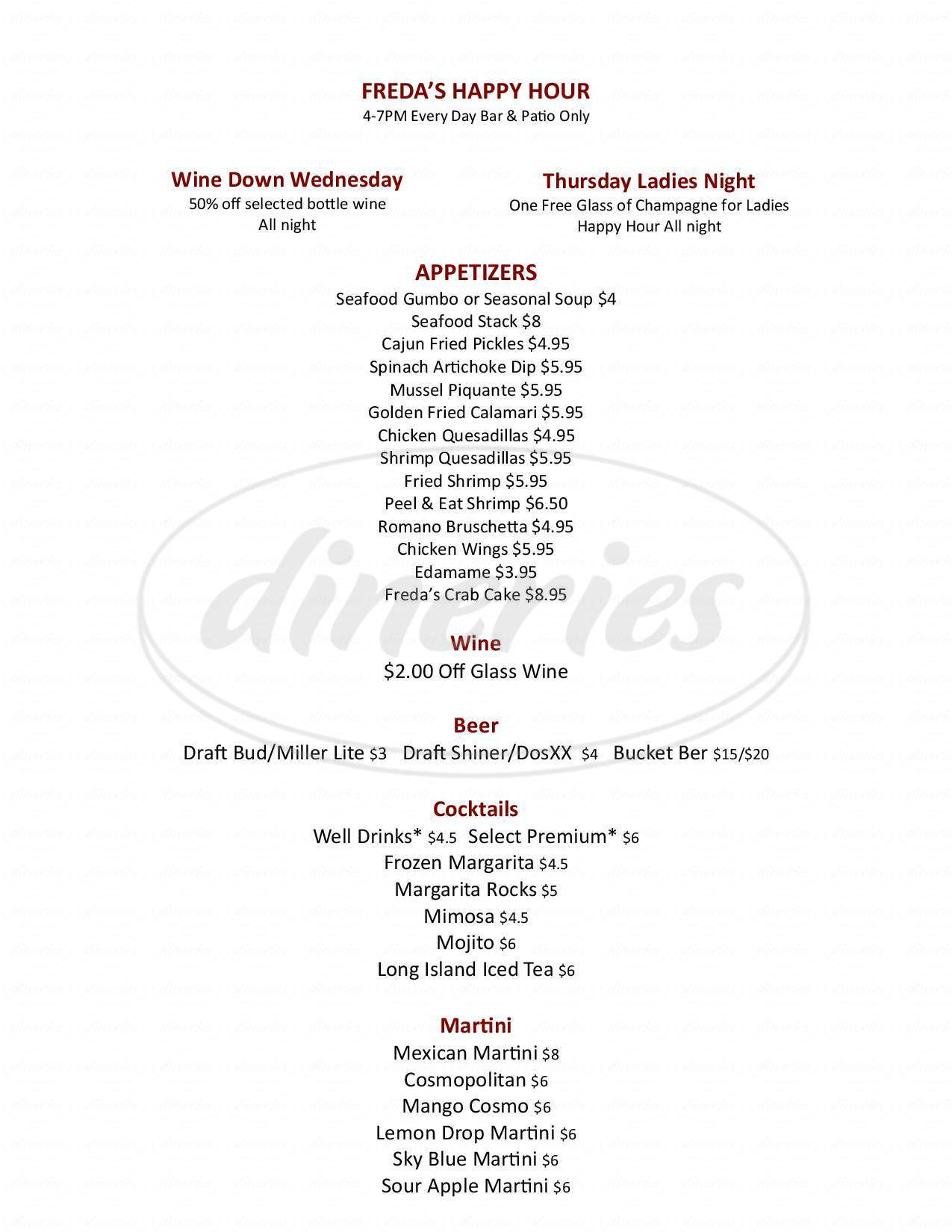 menu for Freda's Seafood Grille