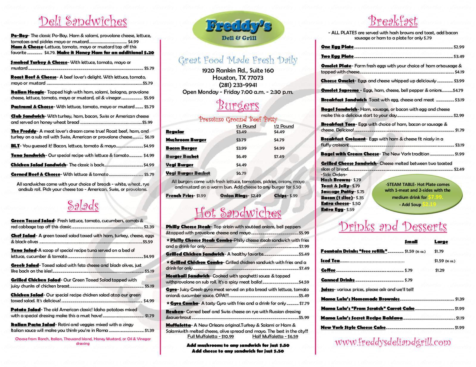menu for Freddy's Deli and Grill