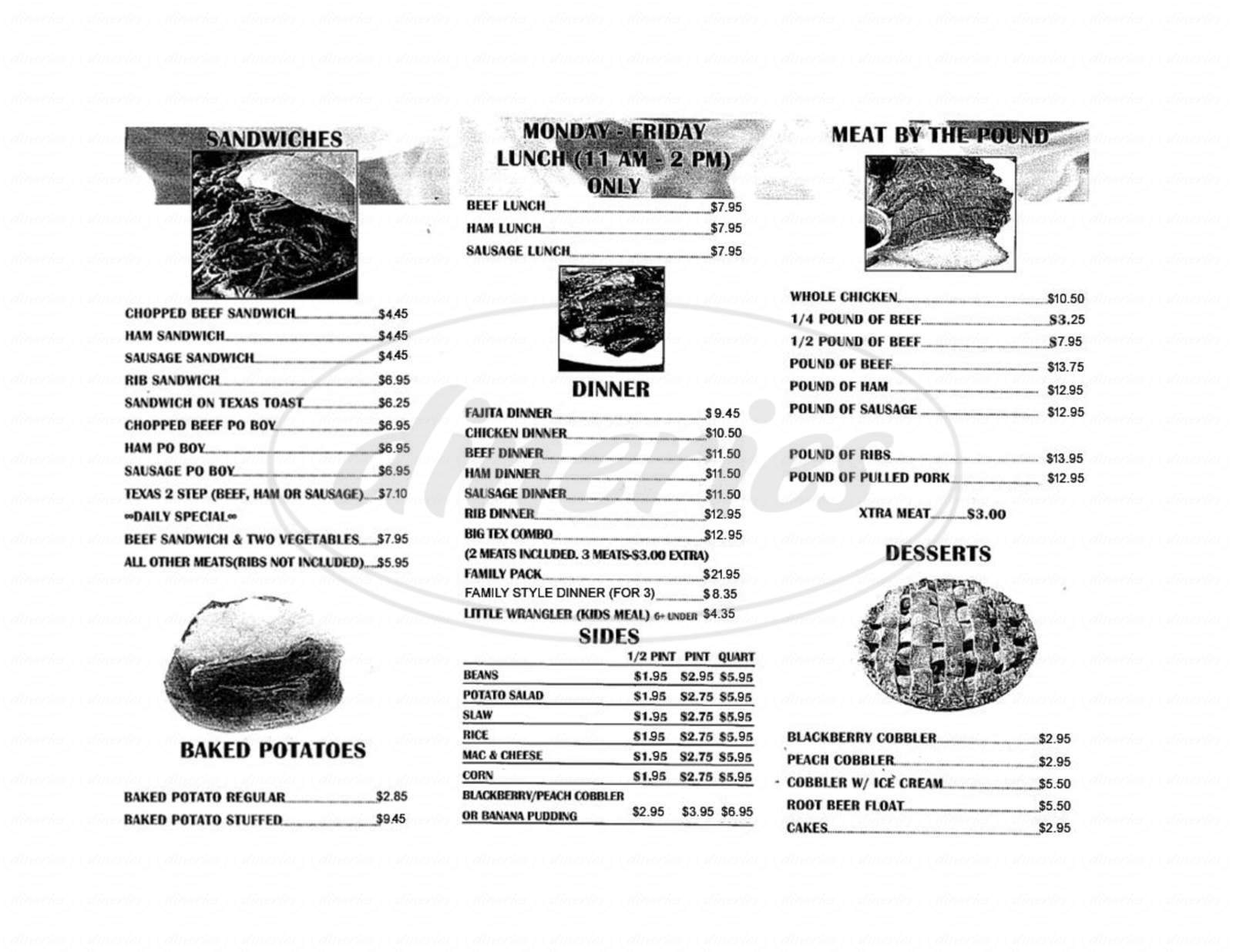 menu for Fred's Barbecue Restaurant