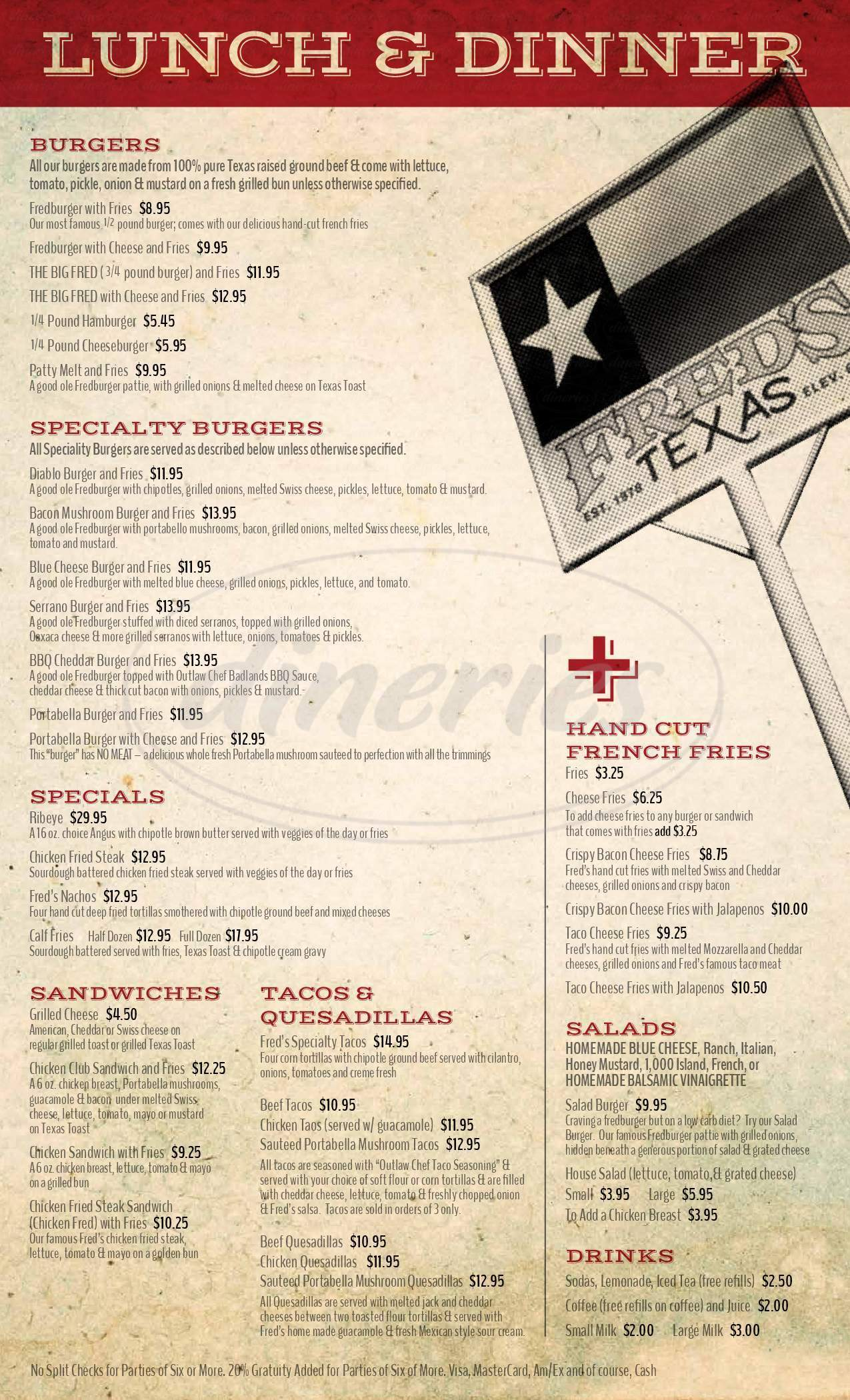 menu for Fred's Texas North