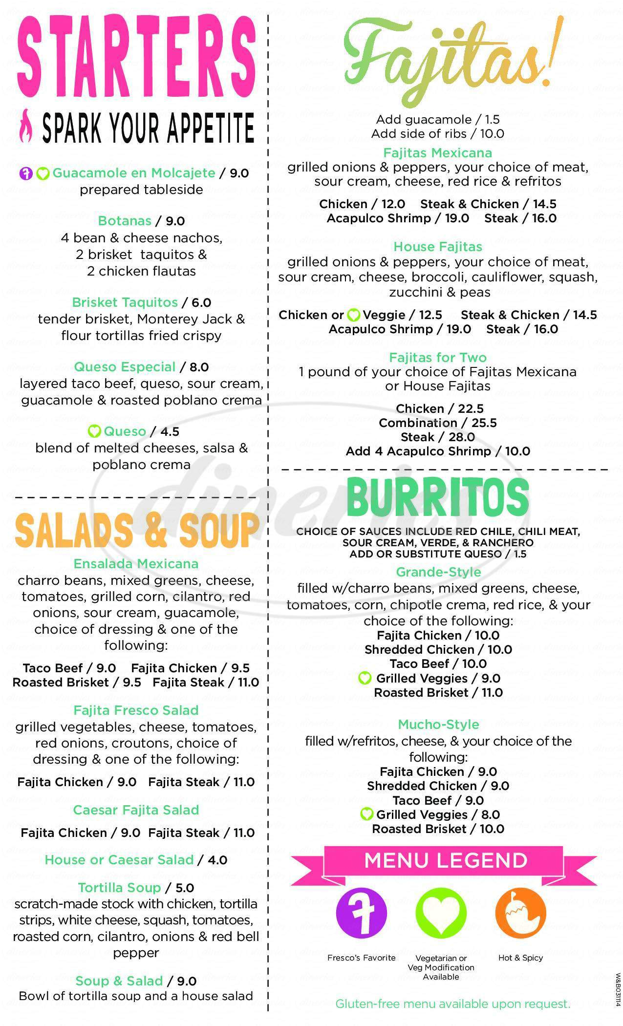 menu for Fresco's