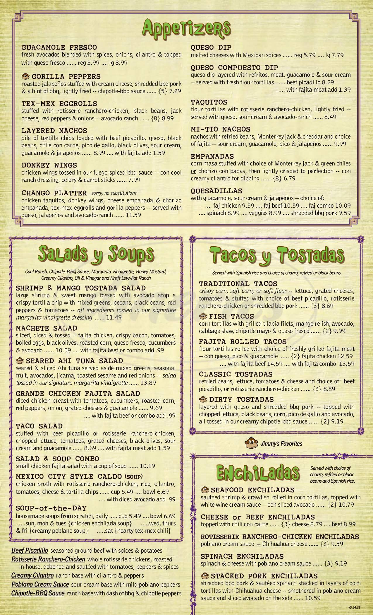 menu for Jimmy Changas