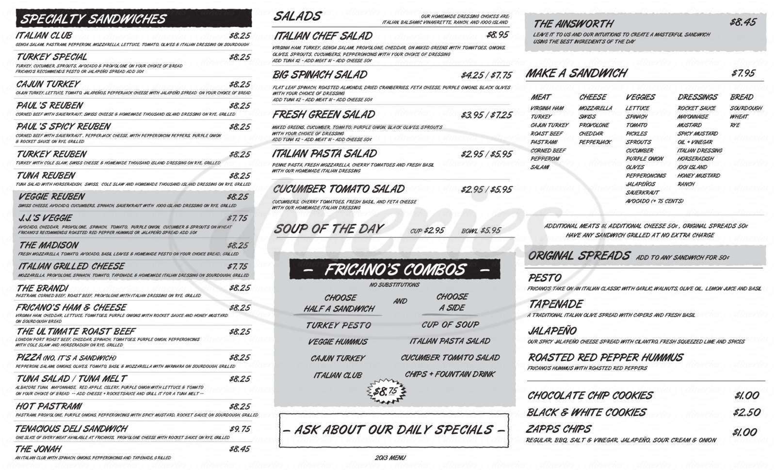 menu for Fricano's Deli