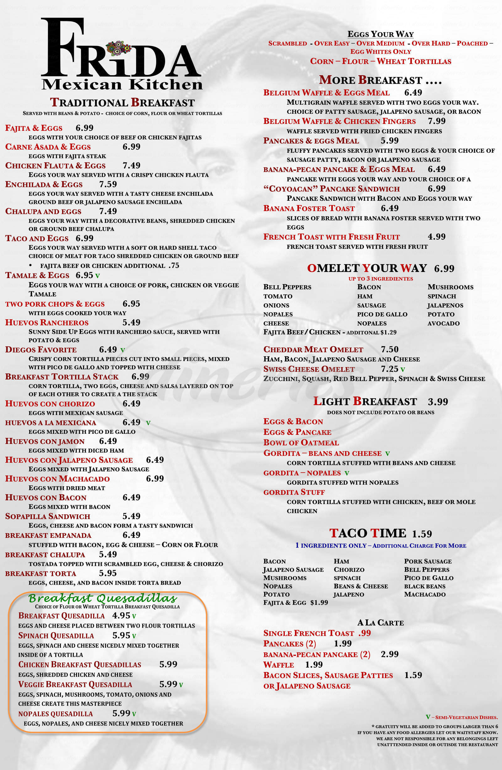 menu for La Casa de Frida Mexican Kitchen