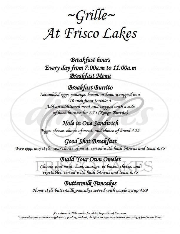 menu for Frisco Lakes Golf Club