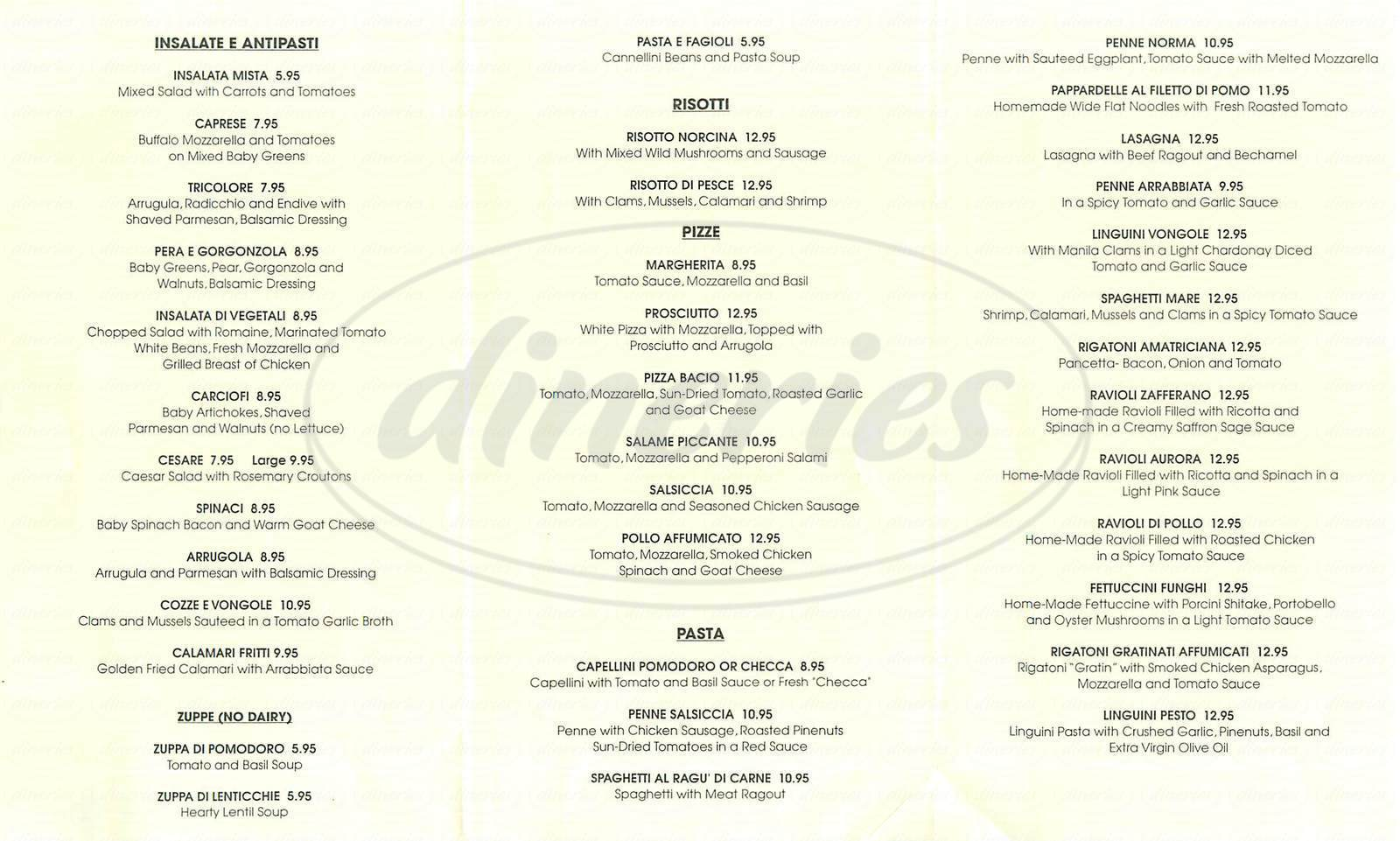 menu for Oliva Trattoria