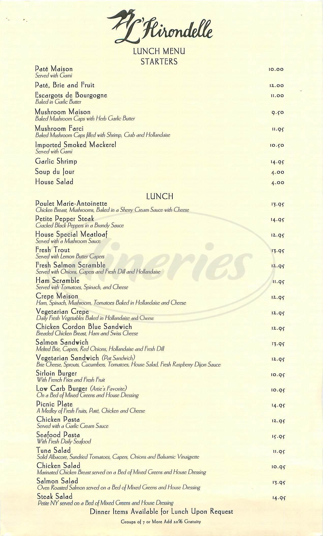 menu for L'Hirondelle