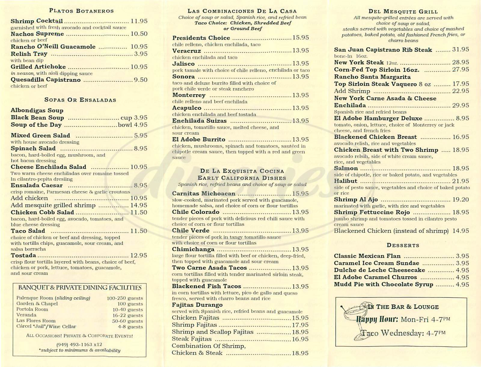 menu for El Adobe