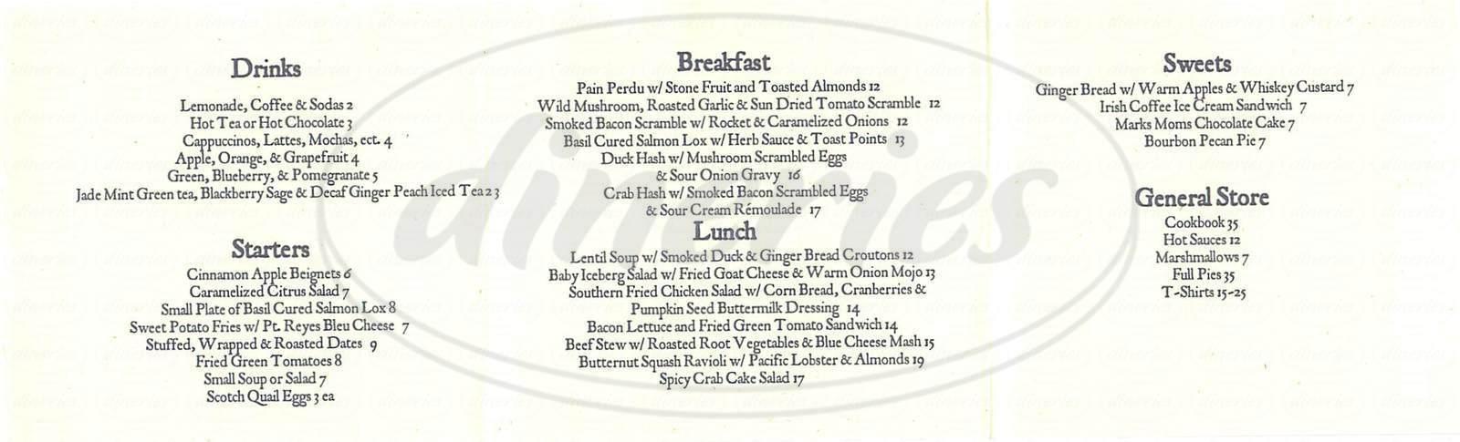 menu for Ramos House Café