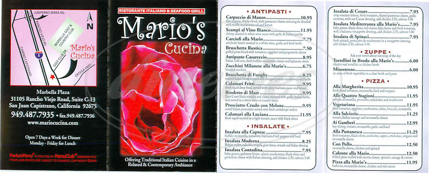 menu for Mario's Cucina