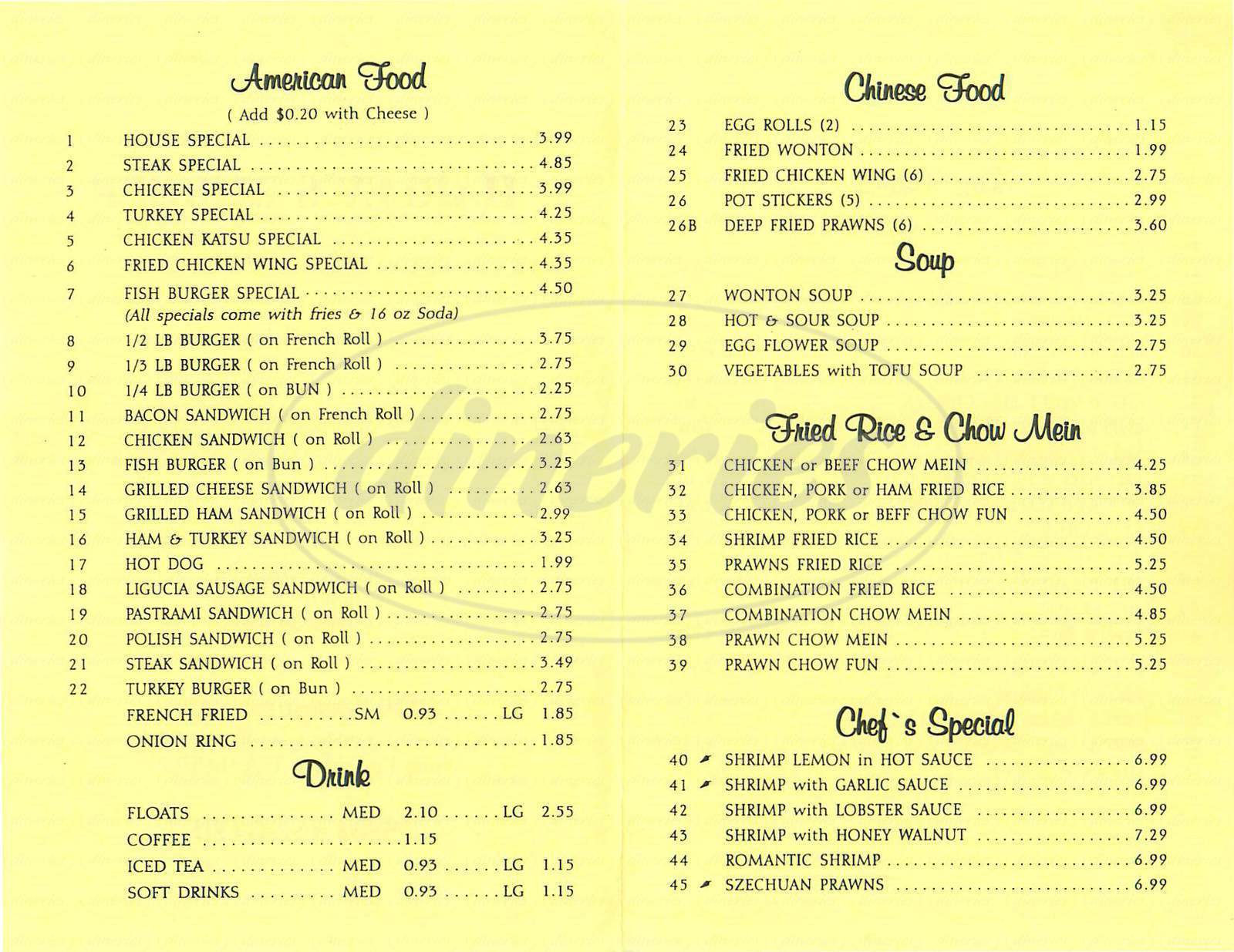 menu for Harleys Burgers