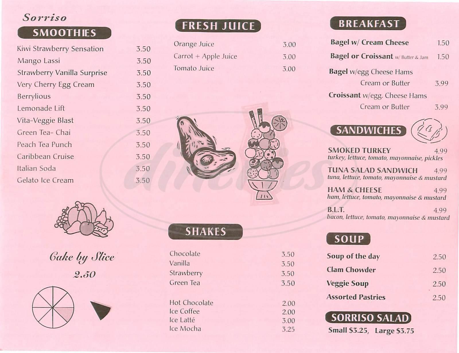 menu for Café Sorriso