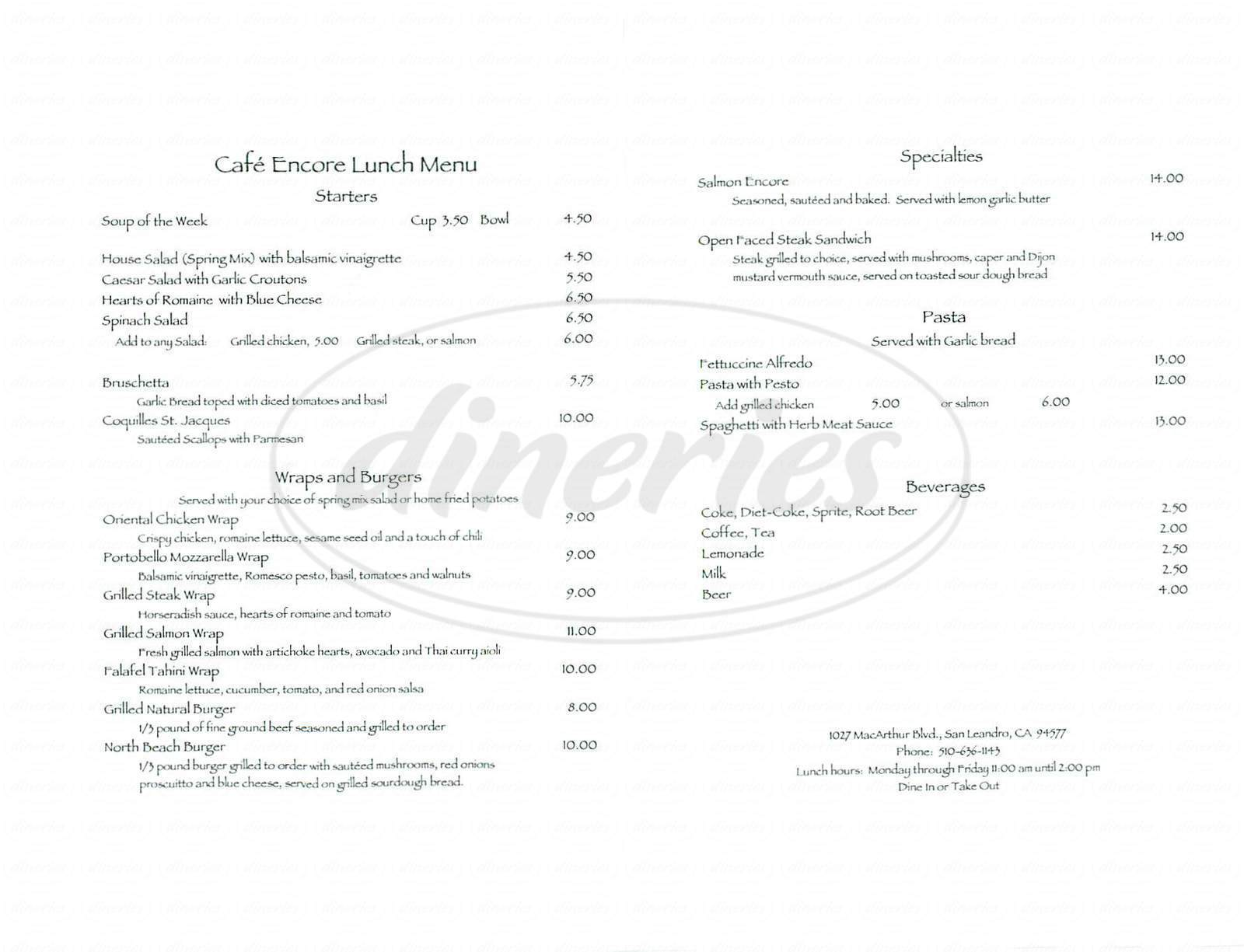 menu for Café Encore