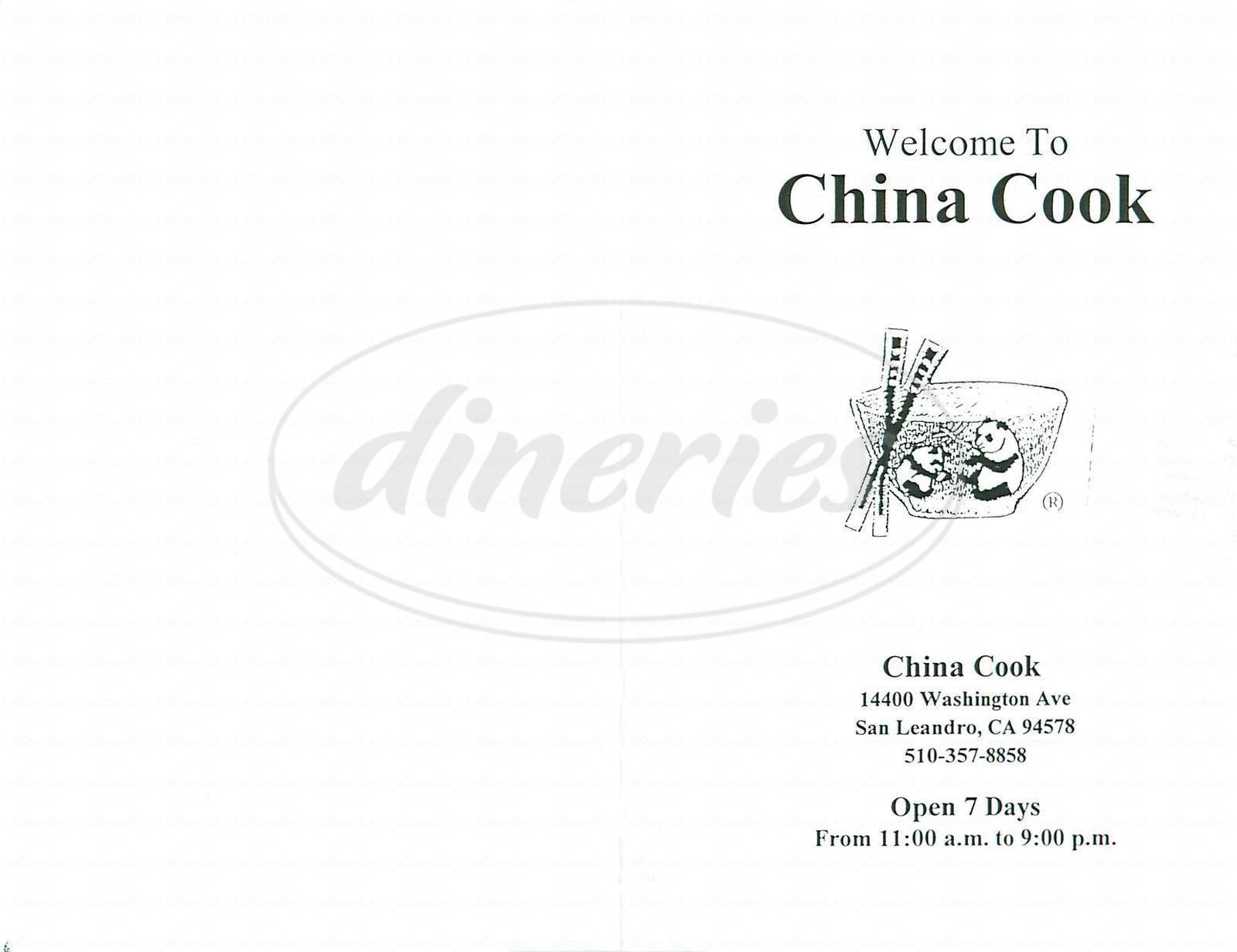 menu for China Cook