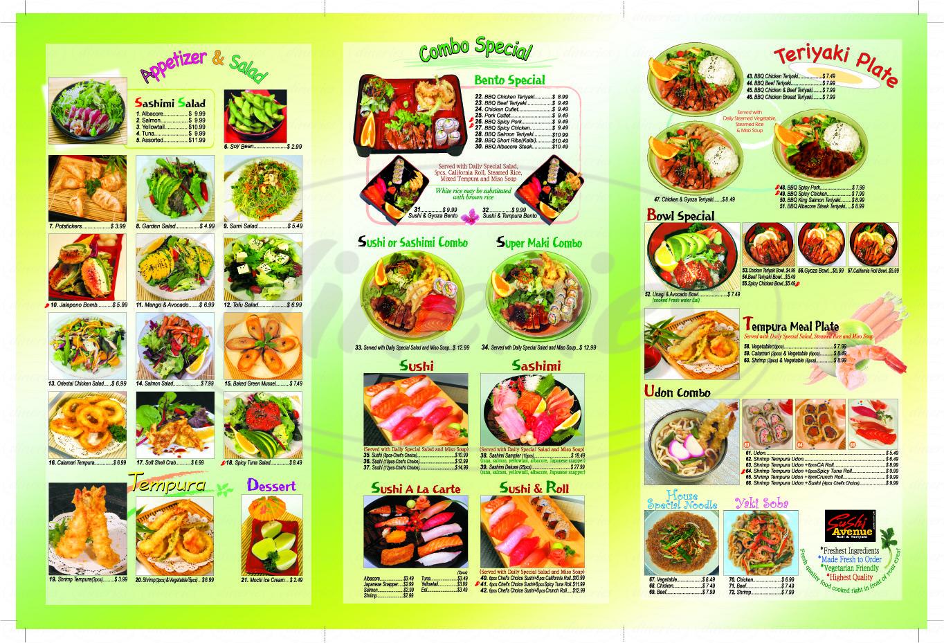 menu for Sushi Avenue
