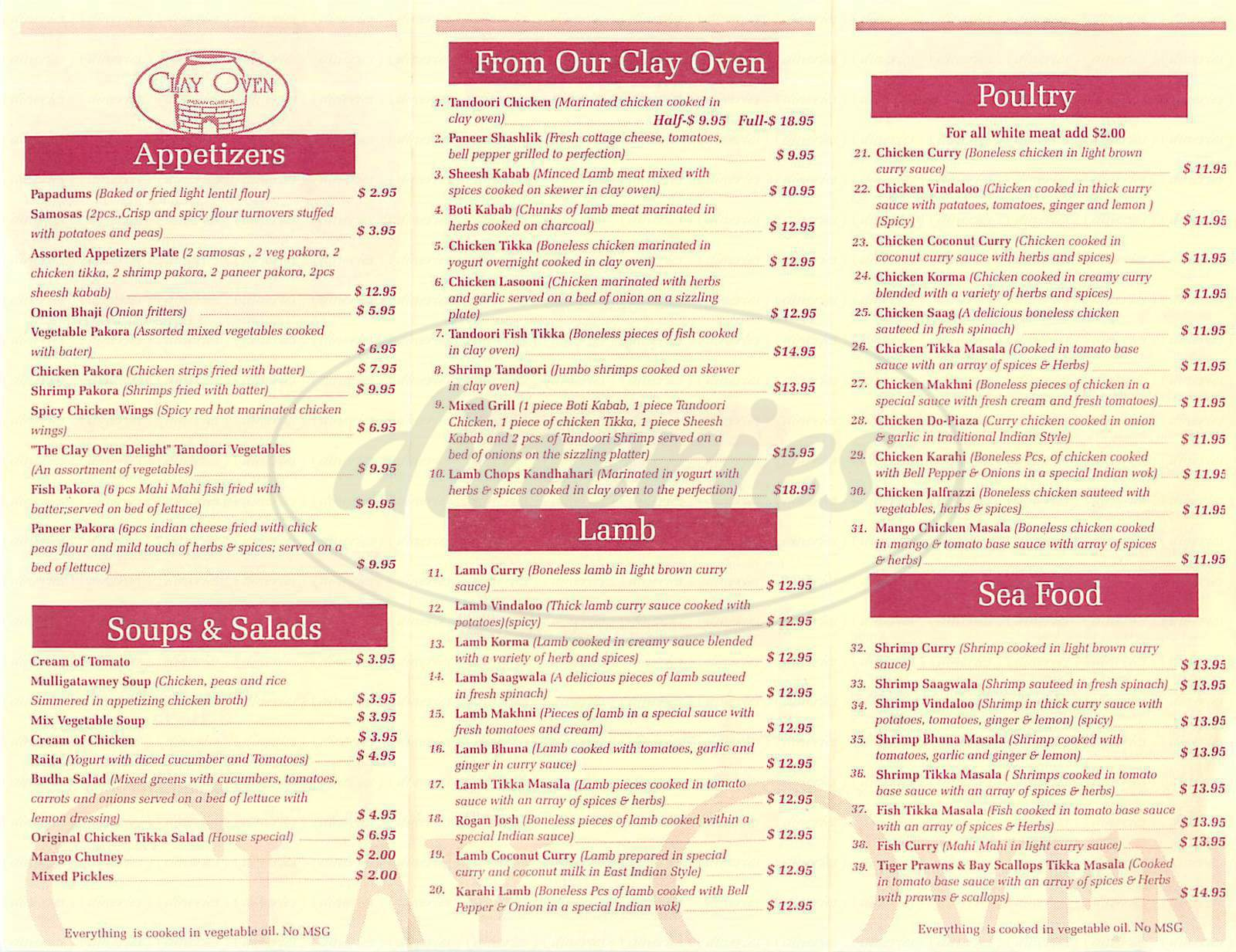 menu for Clay Oven Indian Cuisine