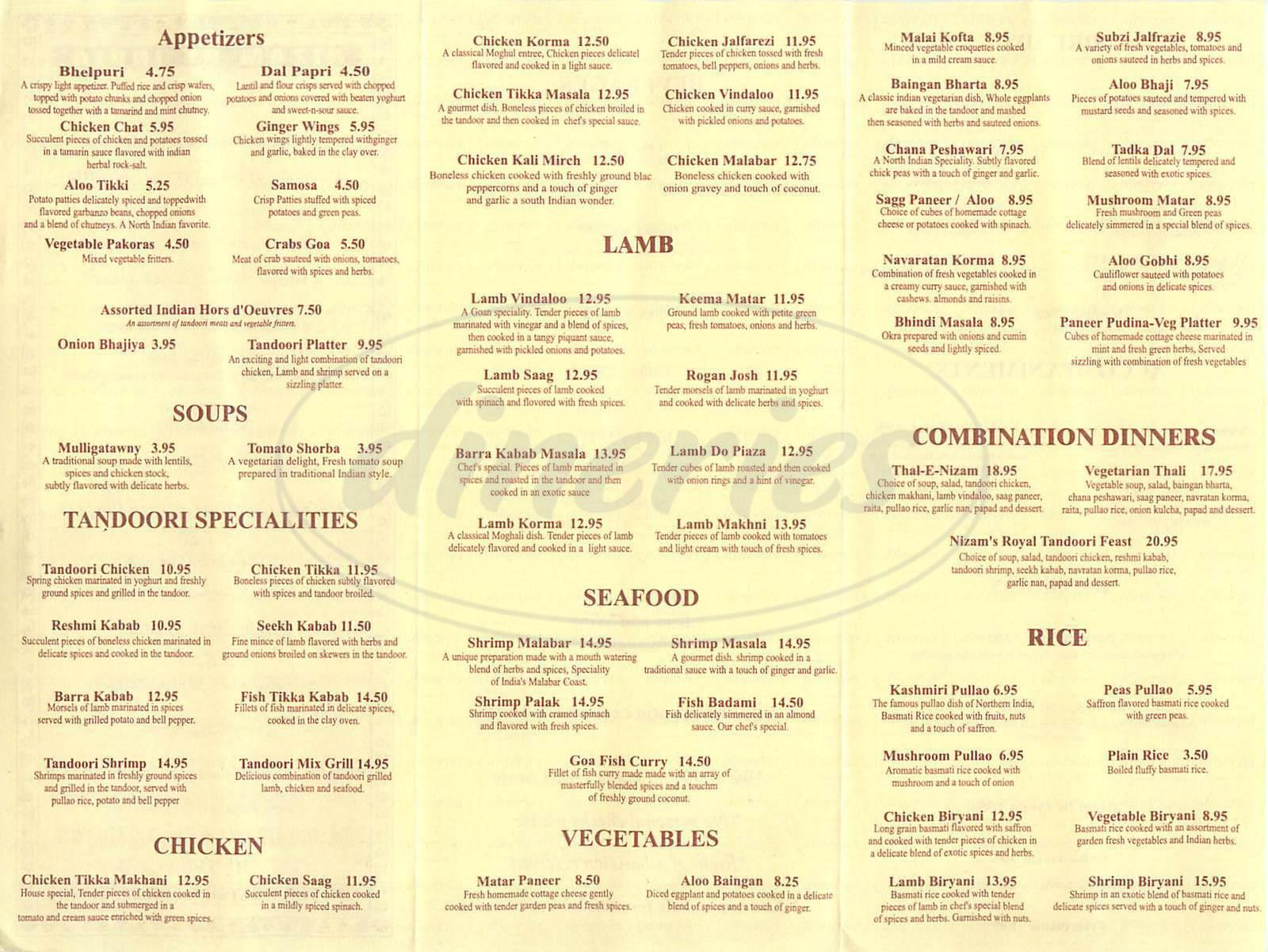 menu for Nizam Indian Cuisine