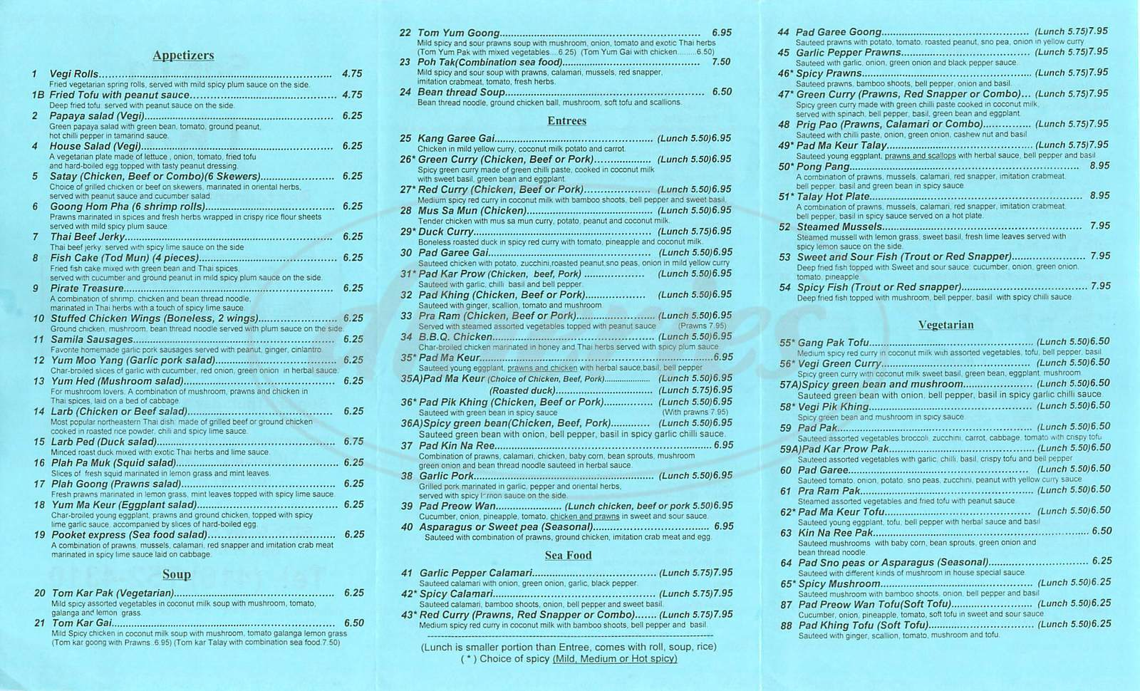 menu for Samila Thai Restaurant