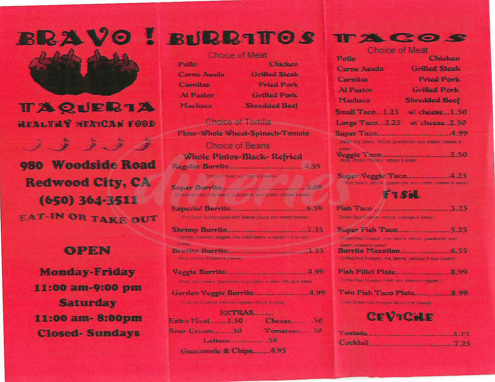 menu for Bravo Taqueria