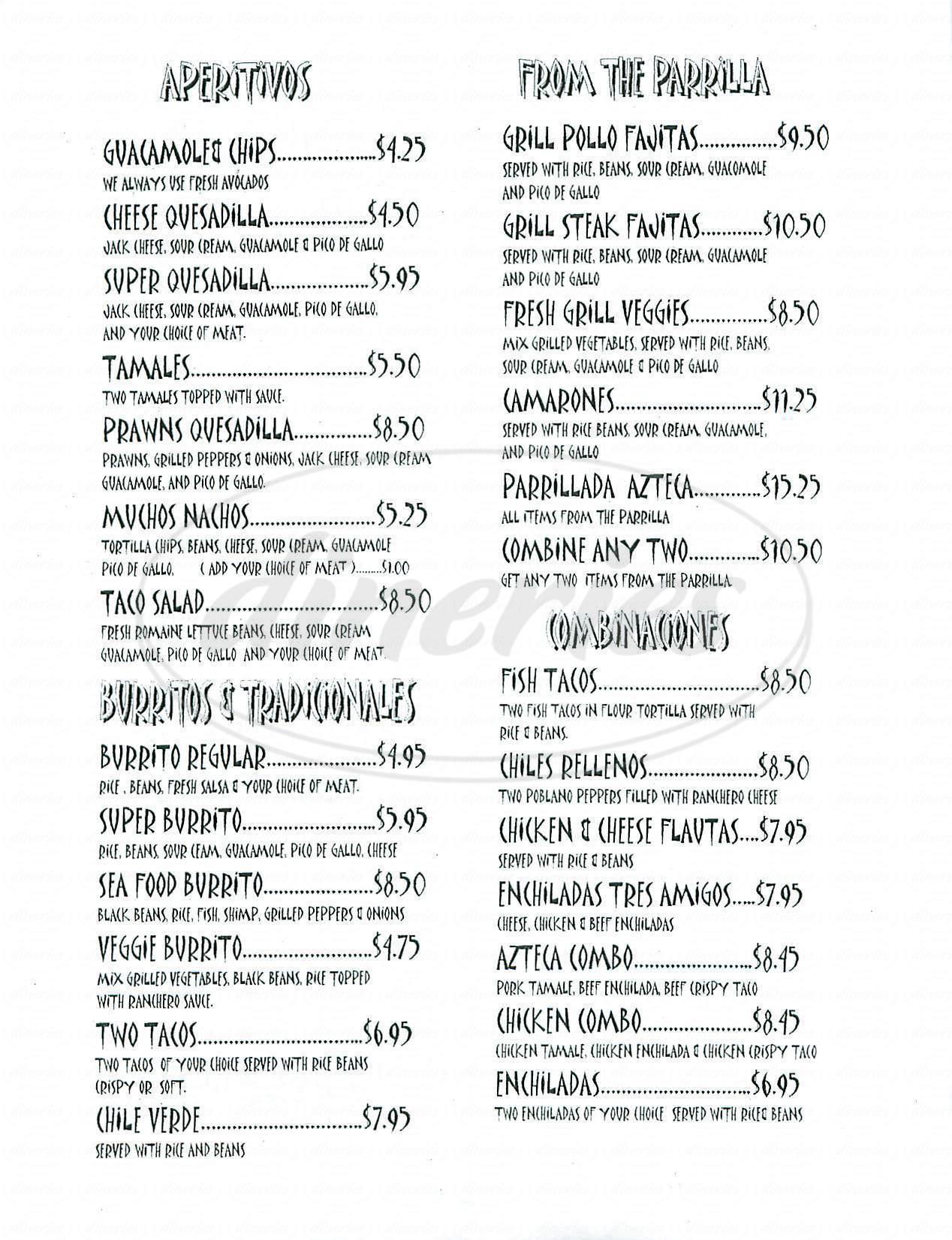 menu for Meson Azteca