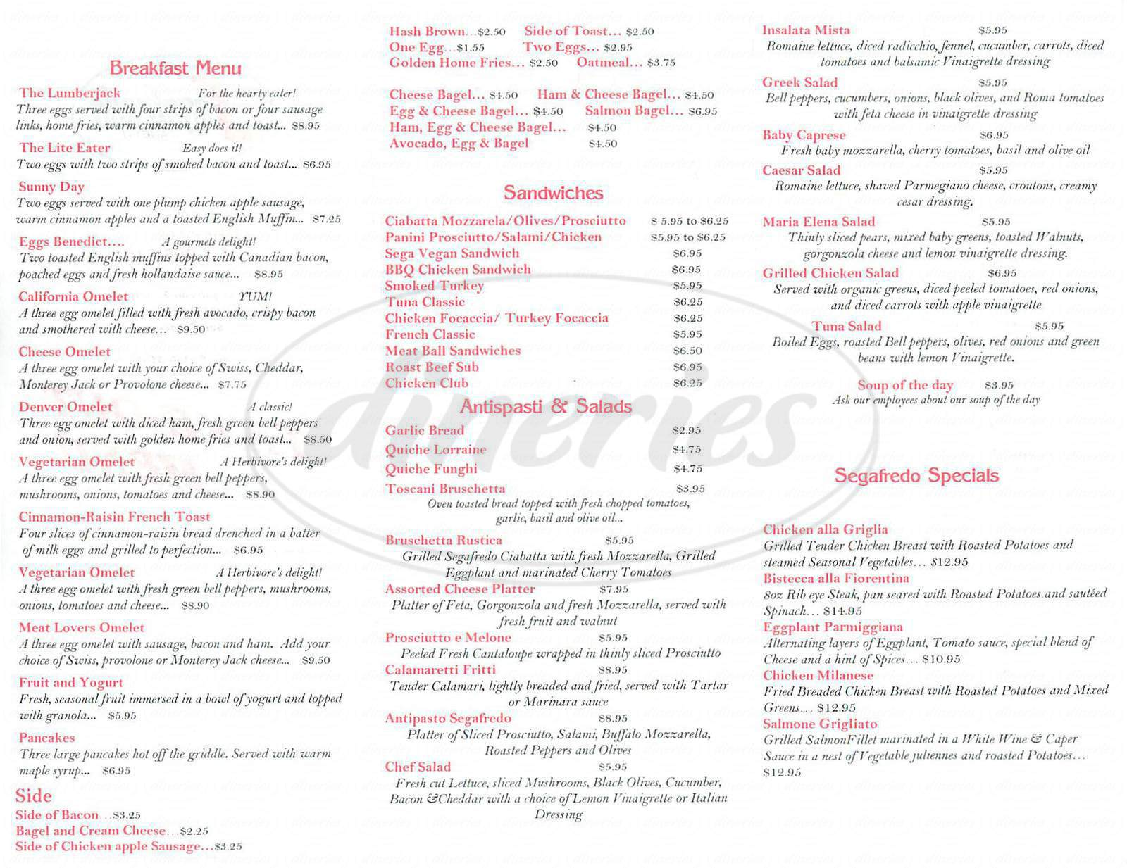 menu for Segafredo Zanetti