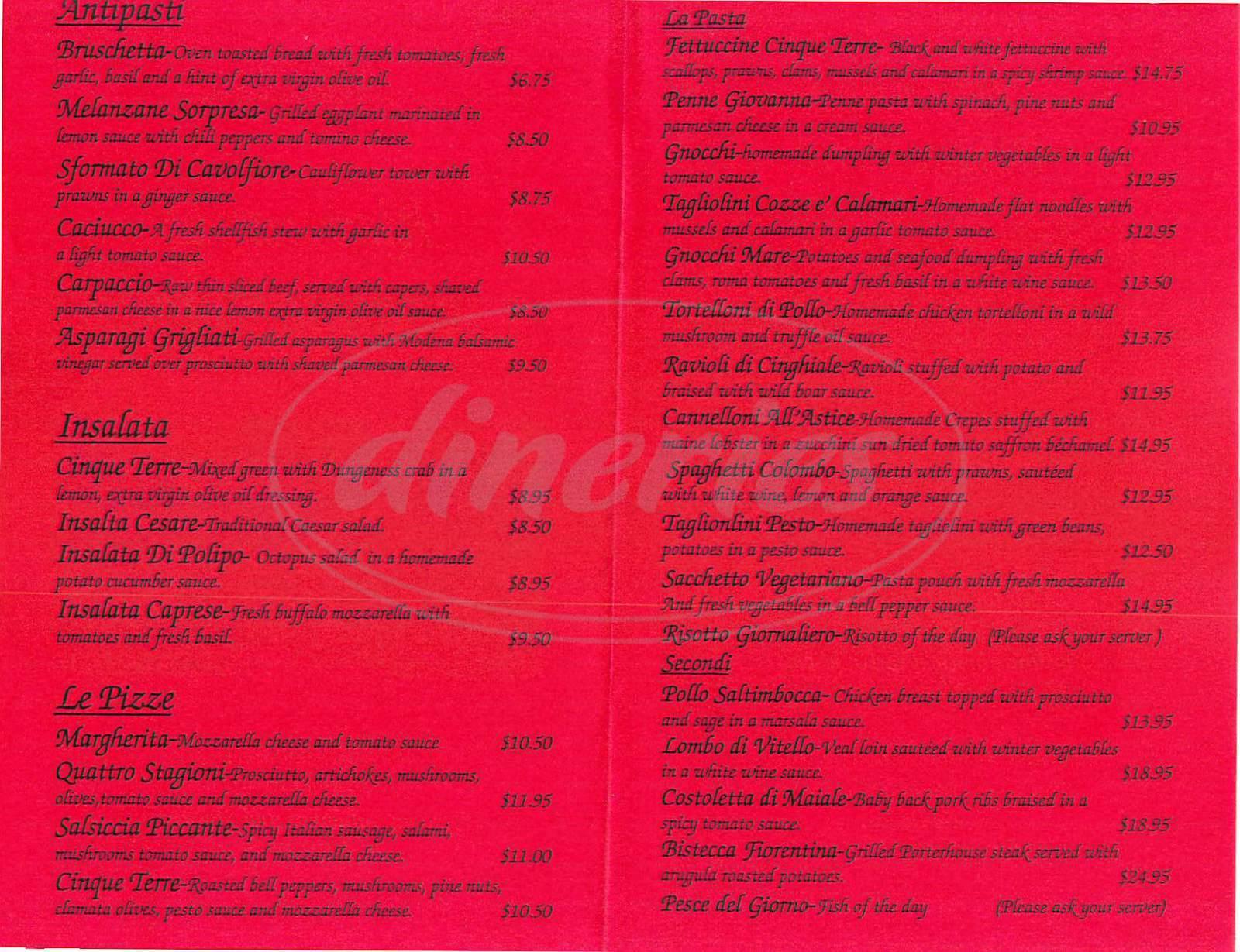 menu for Ristorante Cinque Terre