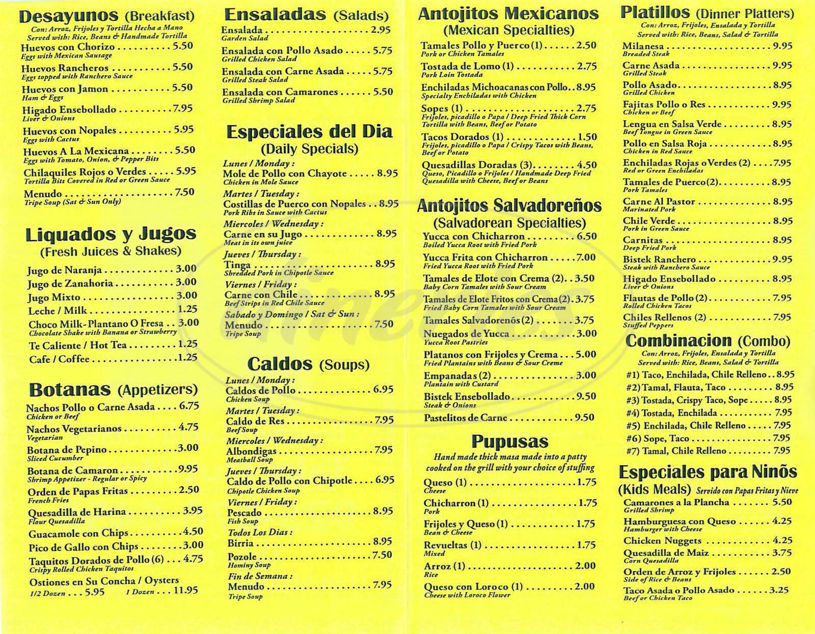 menu for Los Toros