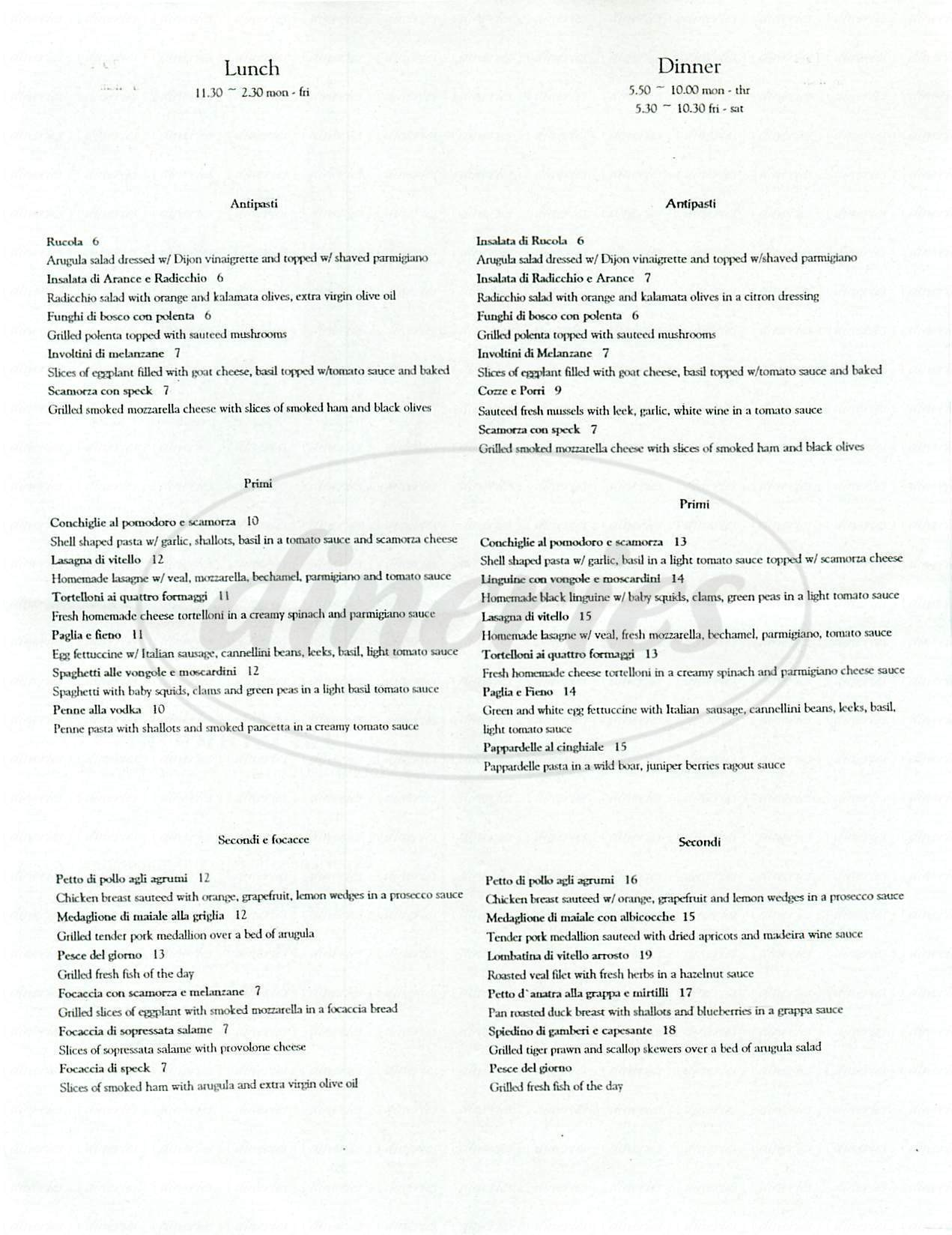menu for La Gondola