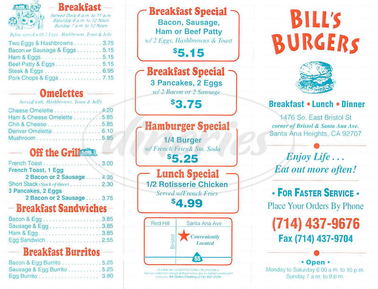 menu for Bill's Burgers