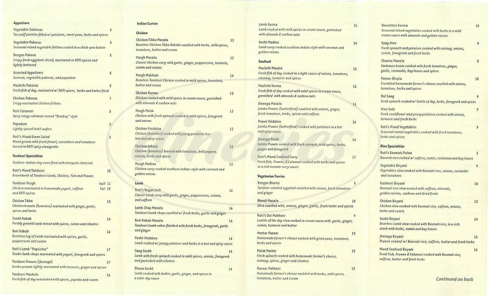menu for Roti Indian Bistro