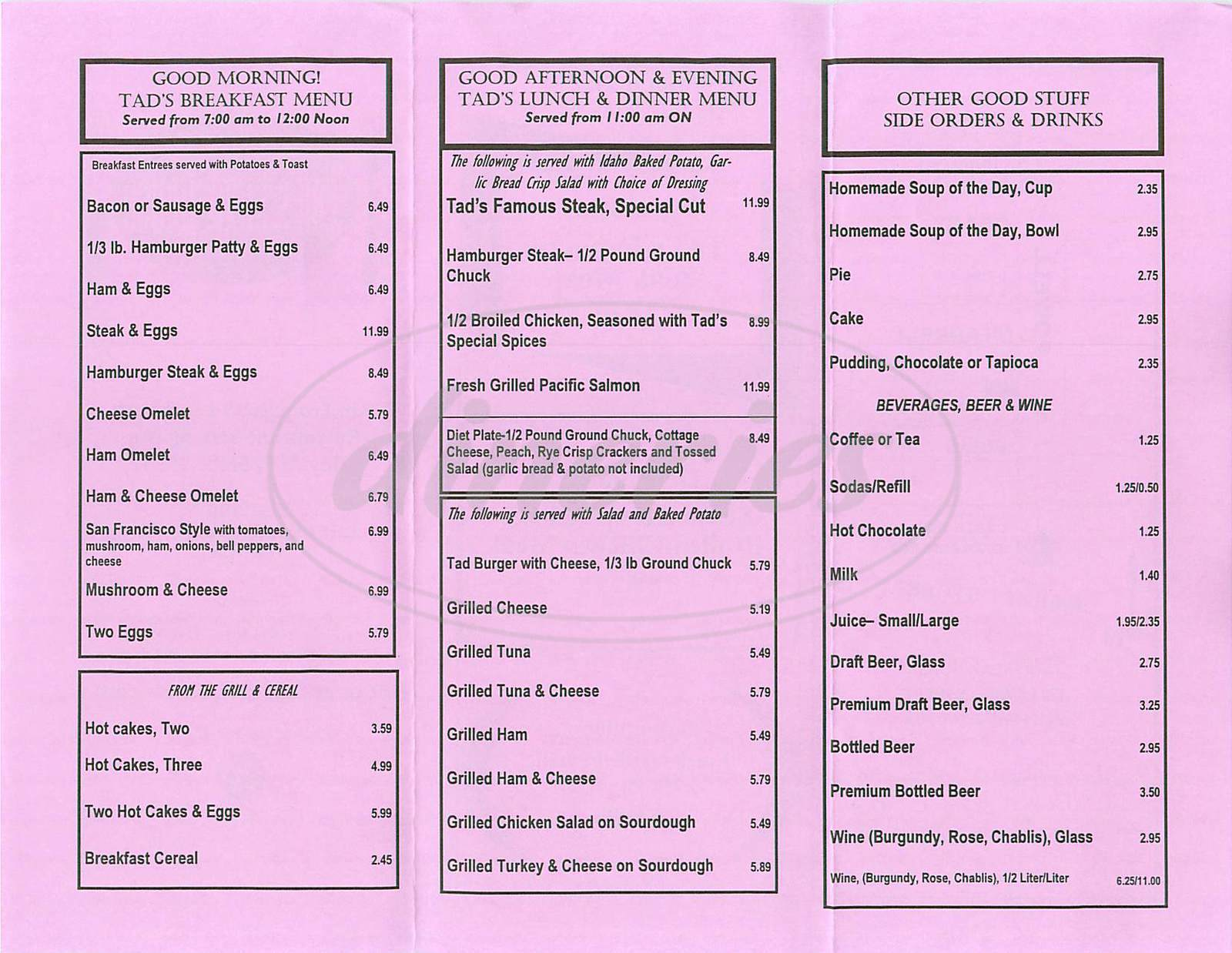 menu for Tad's Steak House