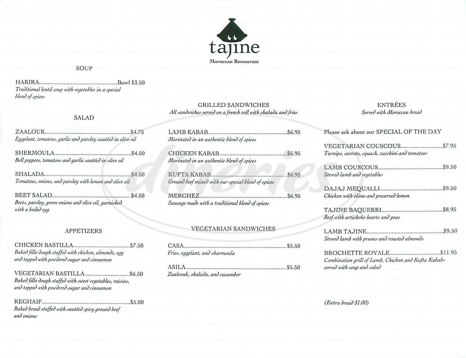 menu for Tajine Restaurant