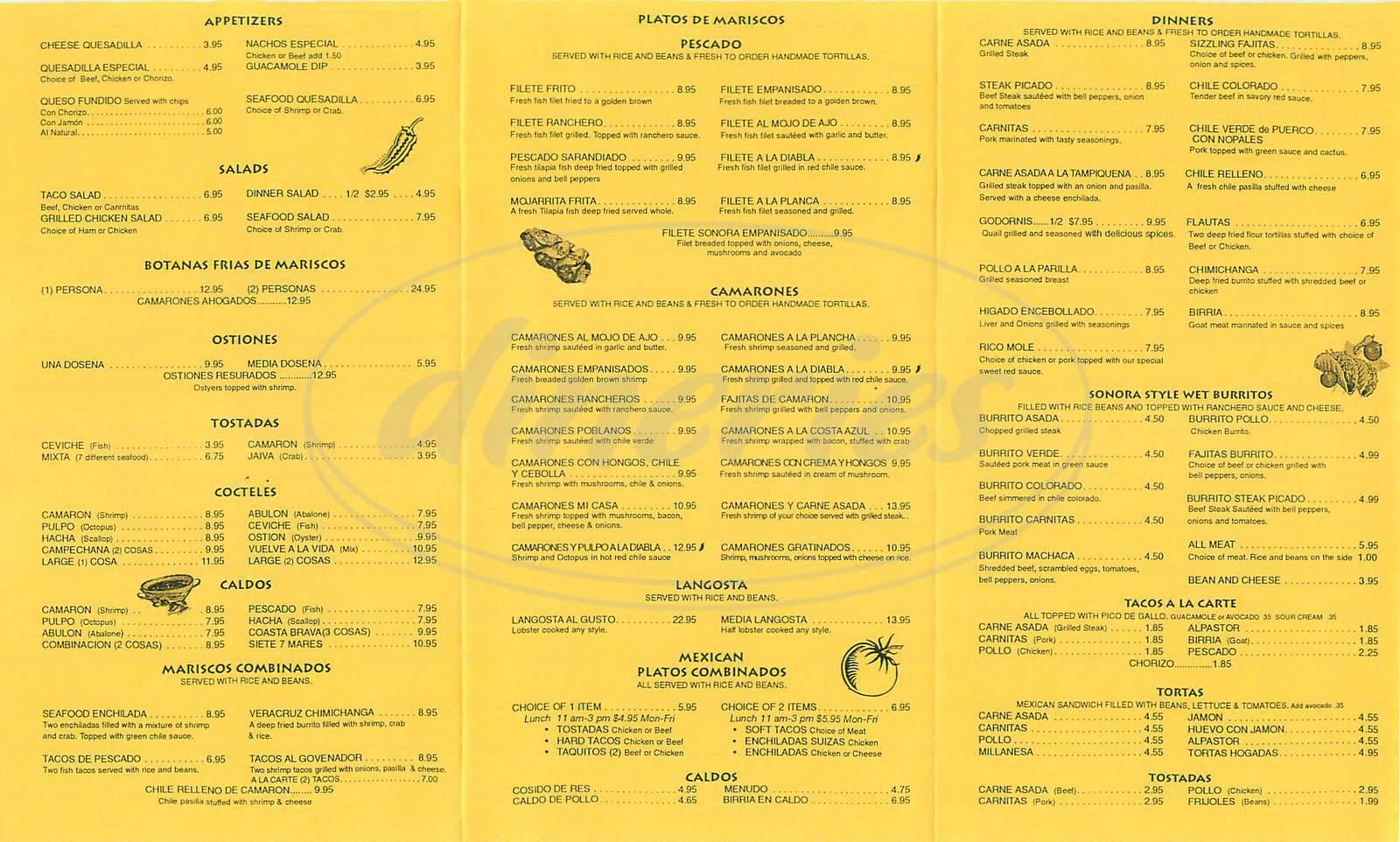 menu for Casa 7 Mares