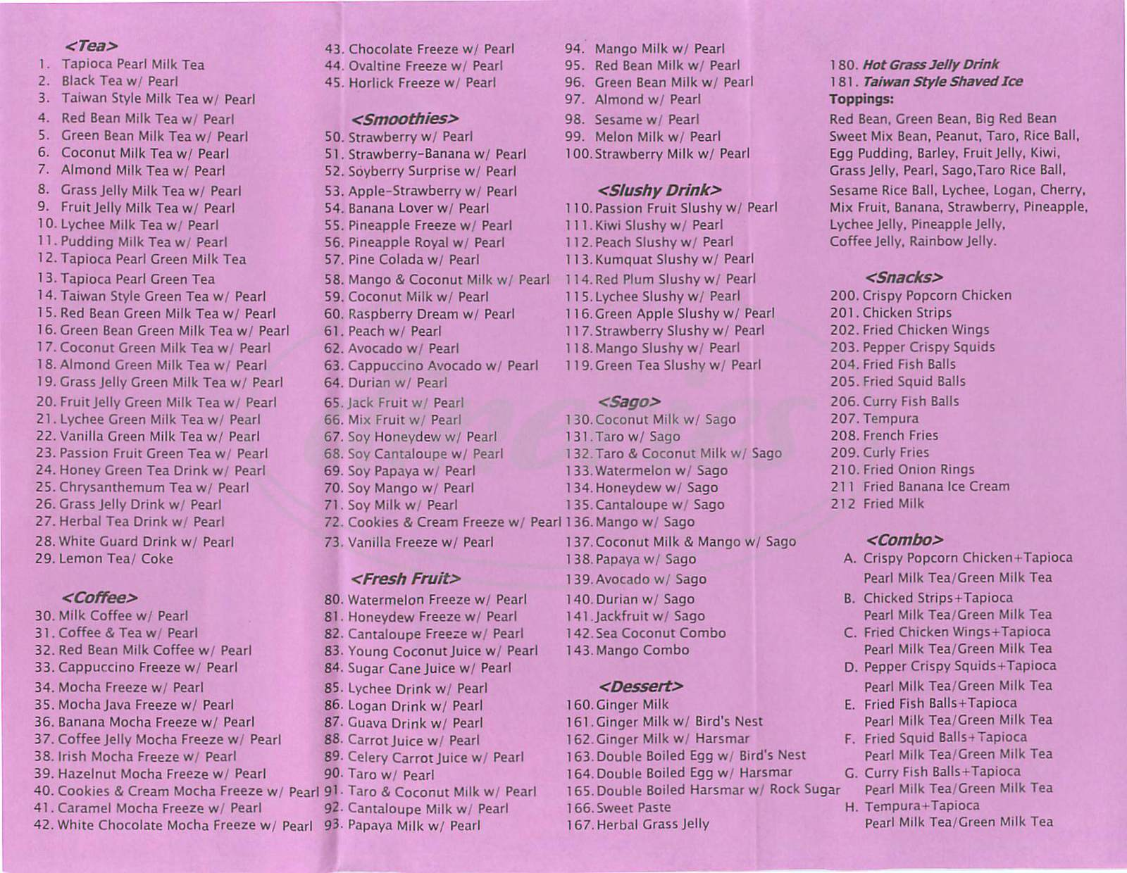 menu for Sweetheart Café