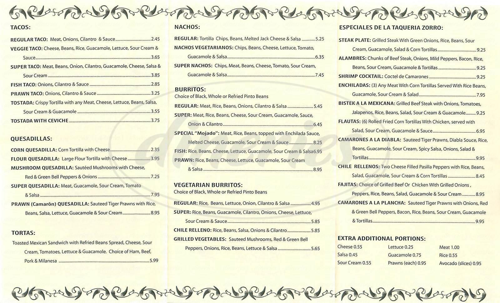 menu for Taqueria Zorro