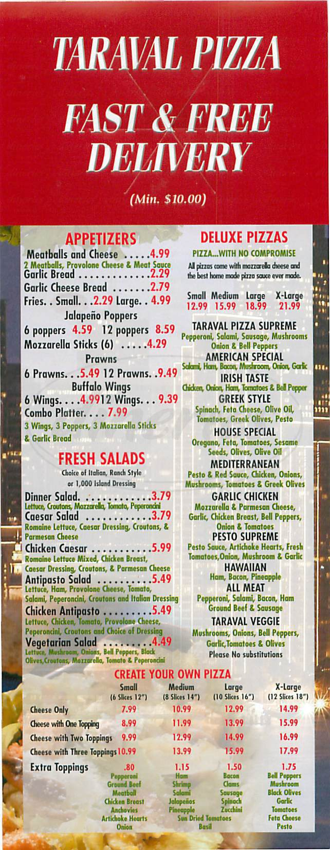 menu for Taraval Pizza