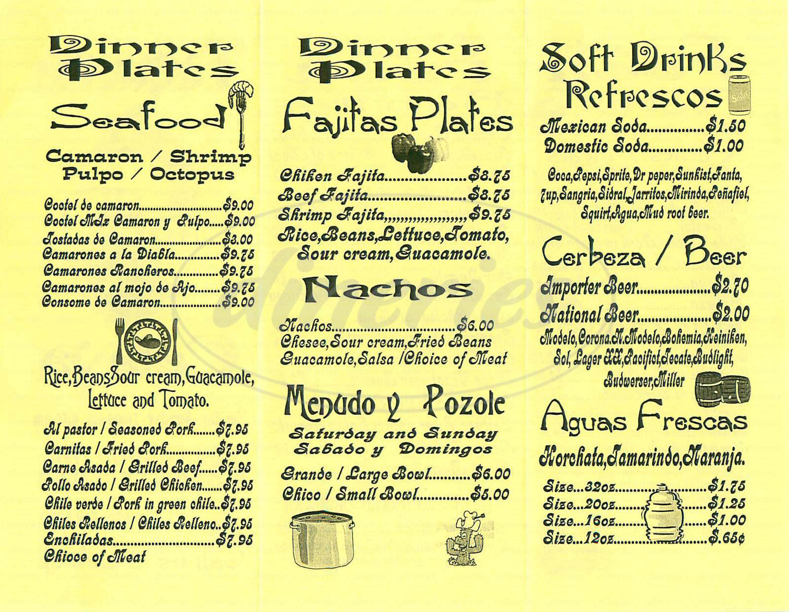 menu for Taqueria Celaya