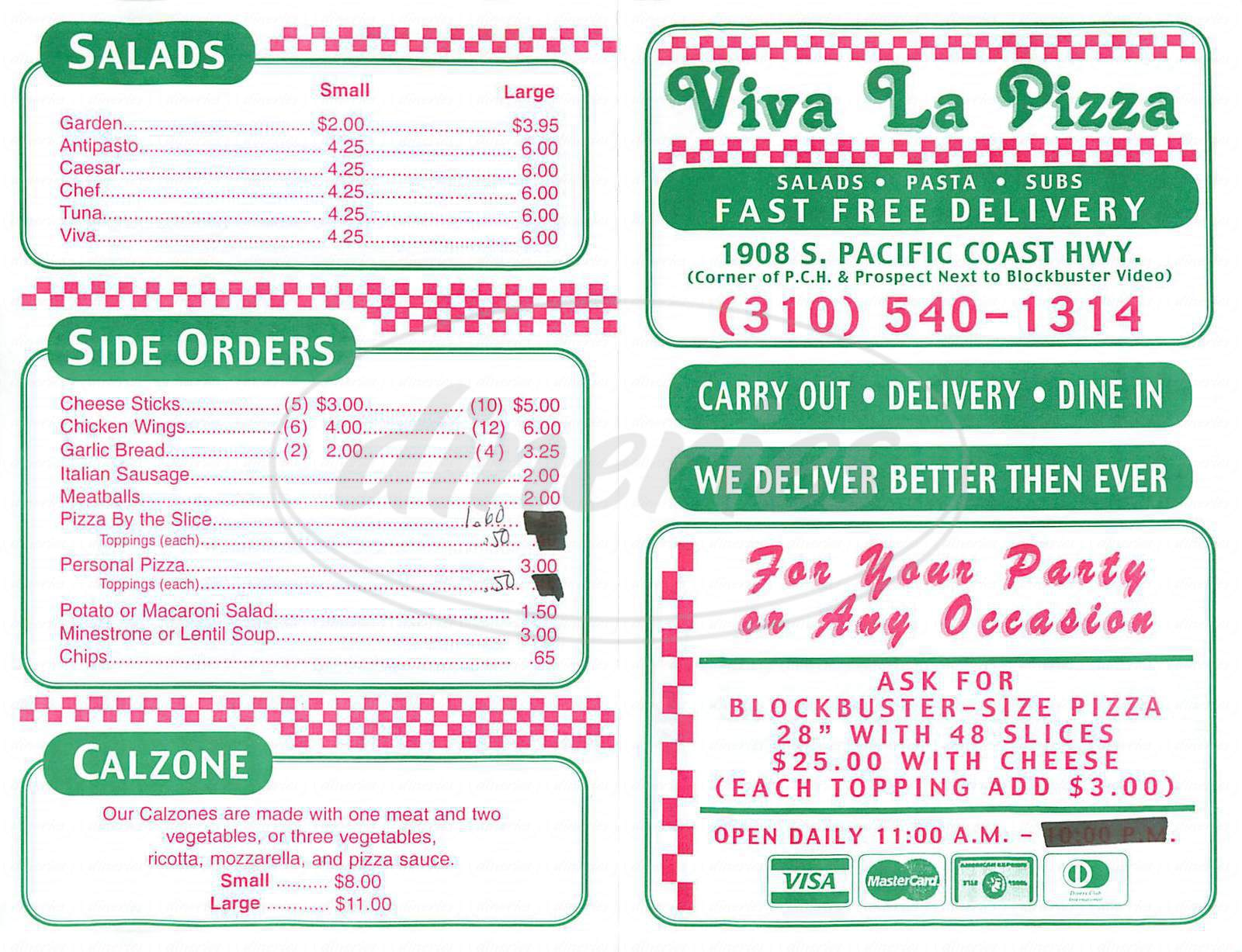 menu for Viva la Pizza