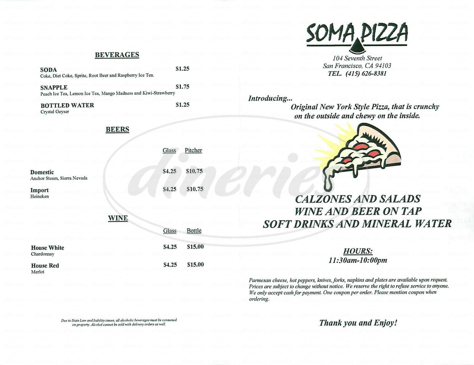 menu for Soma Pizza