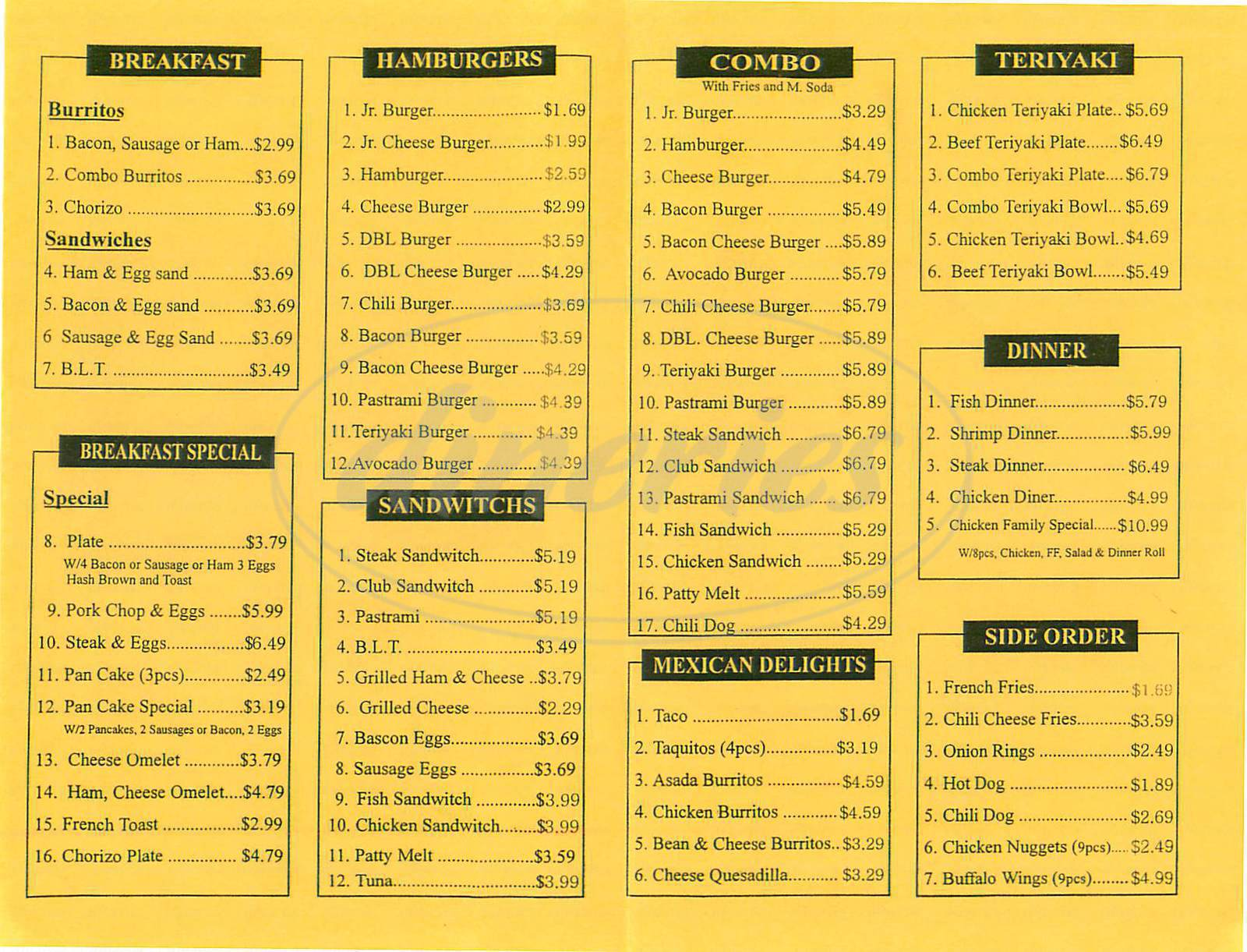 menu for Classic Burgers