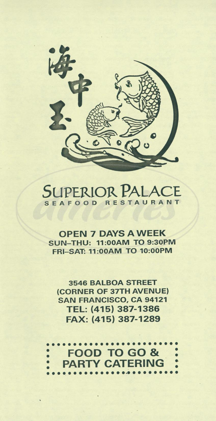 menu for Superior Palace
