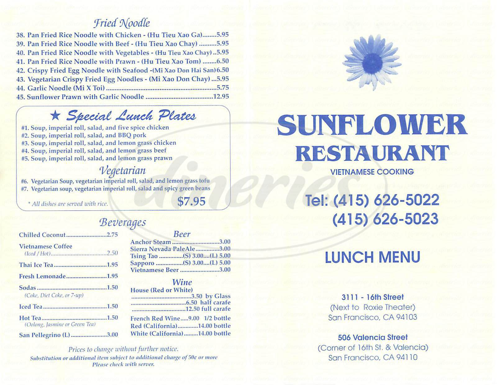 menu for Sunflower Restaurant