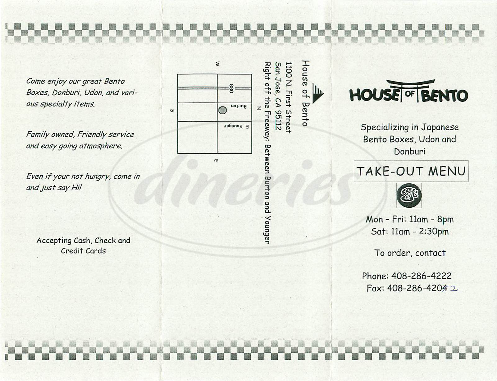 menu for House of Bento