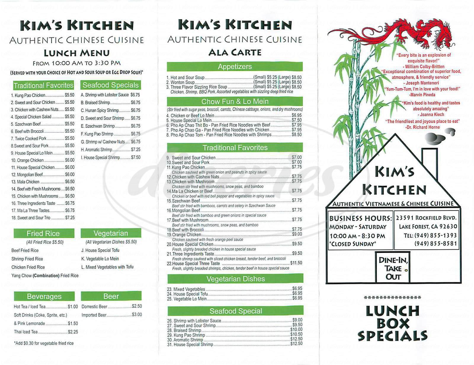 menu for Kim's Kitchen