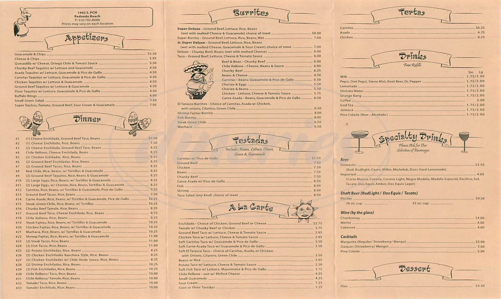 menu for El Tarasco