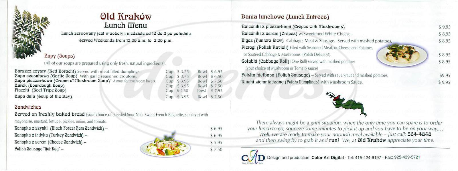 menu for Old Krakow Polish Restaurant