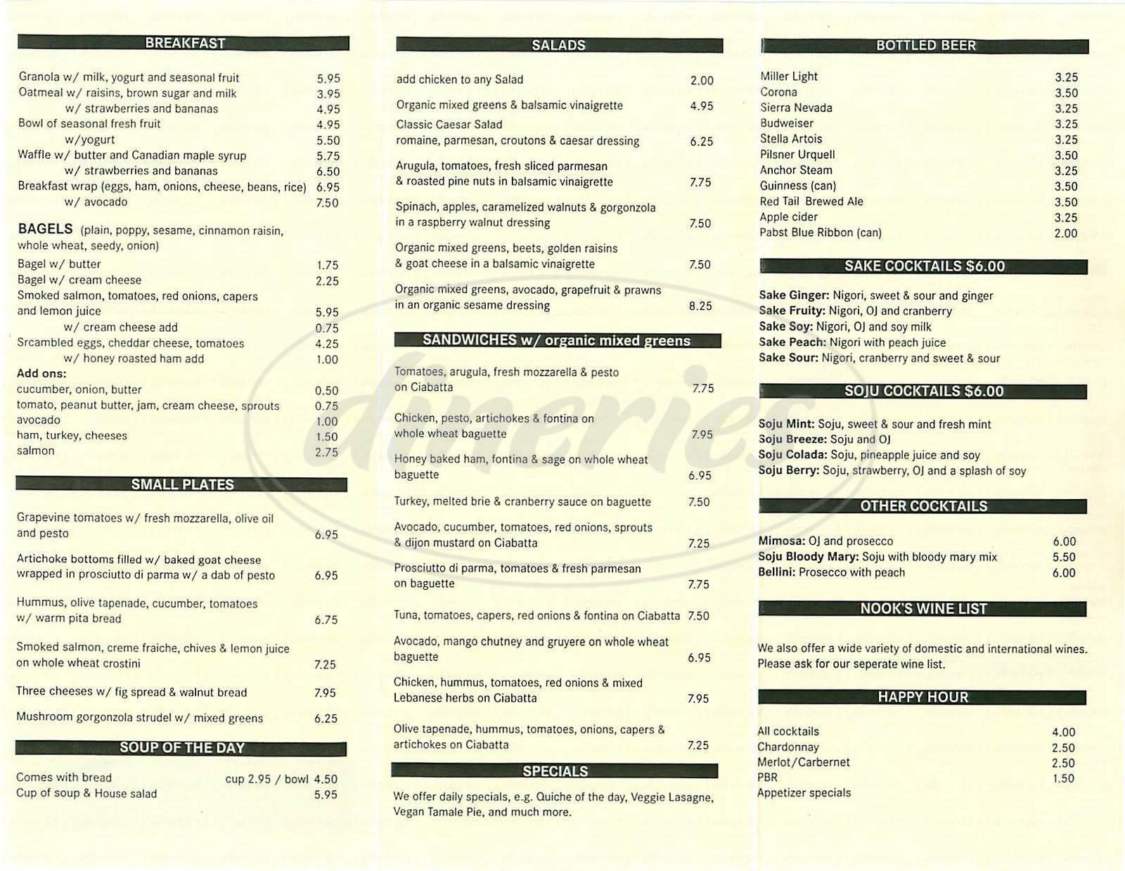 menu for Nook