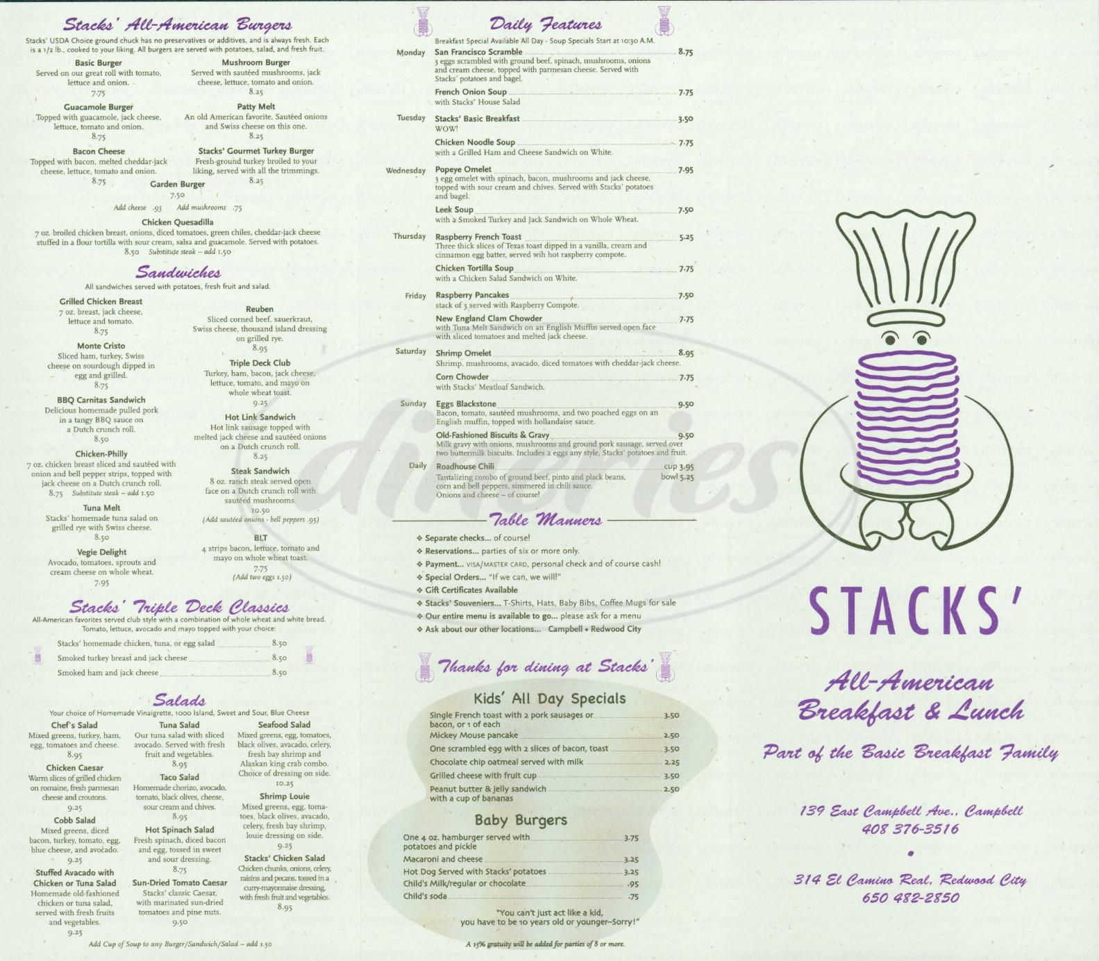menu for Stacks