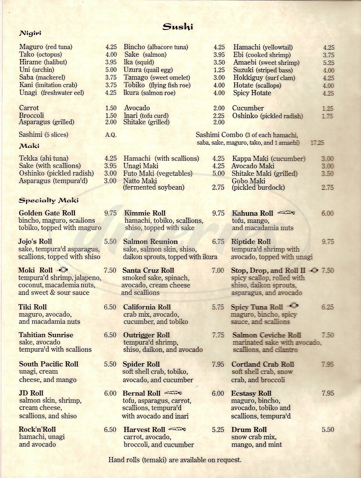 menu for Mokis Sushi & Pacific Grill