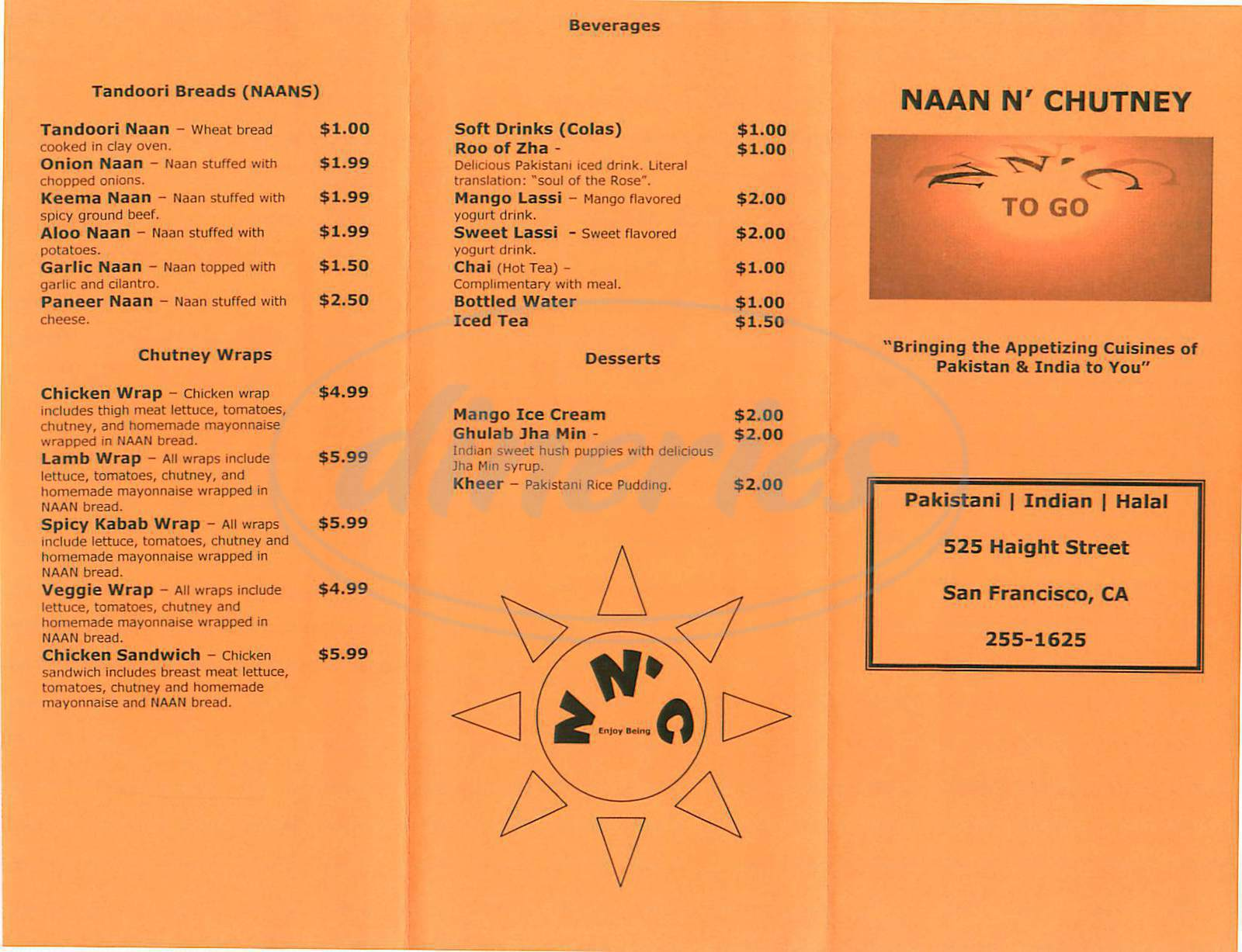 menu for Naan N Chutney